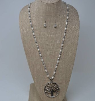 Freshwater Pearl Tree of Life Necklace Set