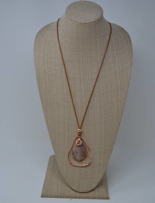 Asymmetrical Copper Oval Stone Necklace