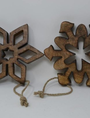 Wooden Cutout Snowflake Ornament (2 Styles)