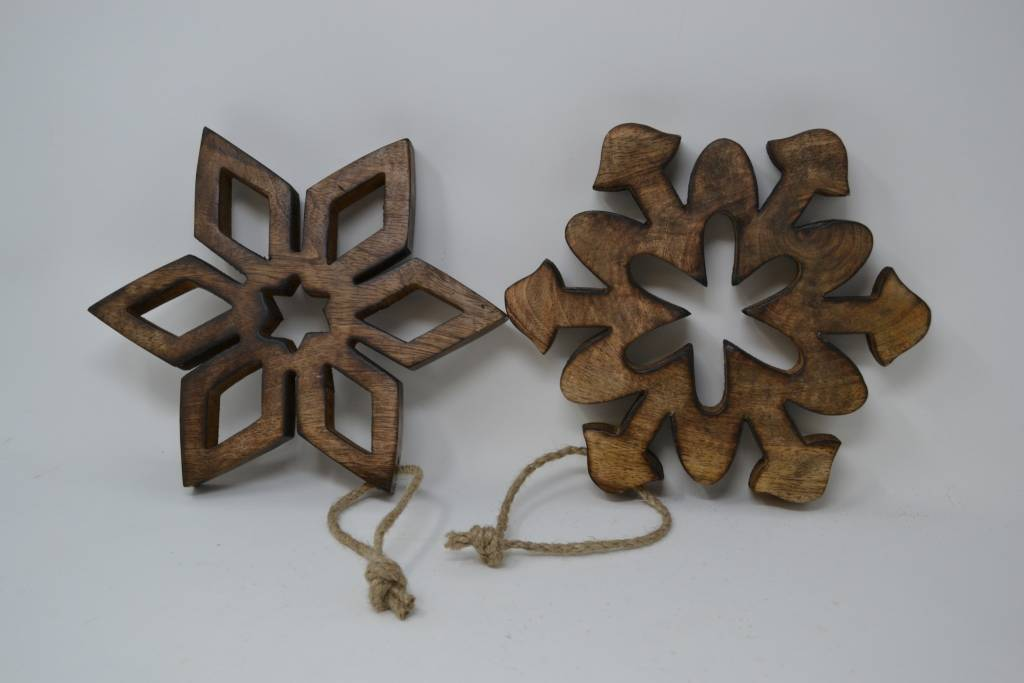 Wooden Cutout Snowflake Ornament
