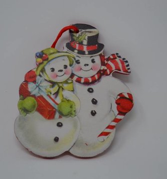 Retro Snowman Couple Ornament