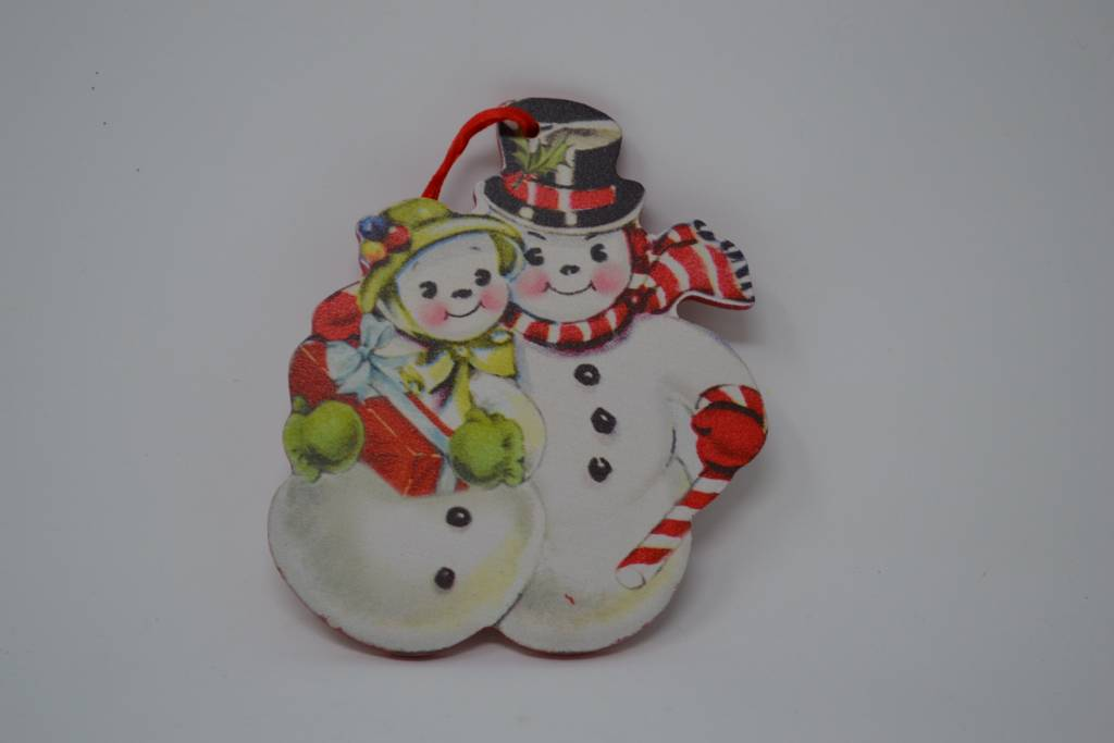 Retro Snowman Couple Ornament