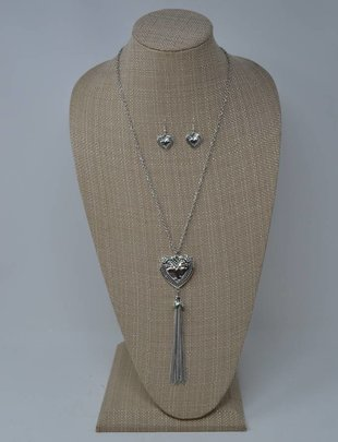 Heart Tassel Necklace & Earring Set