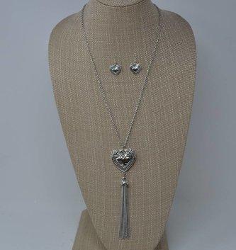 Heart Tassel Necklace & Earring Set