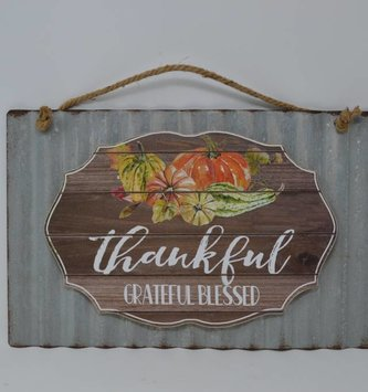 Thankful Grateful Blessed Metal Sign