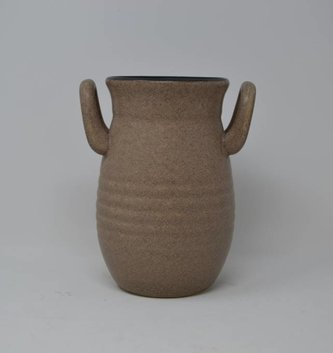 "7.5"" Taupe Handled Vase"