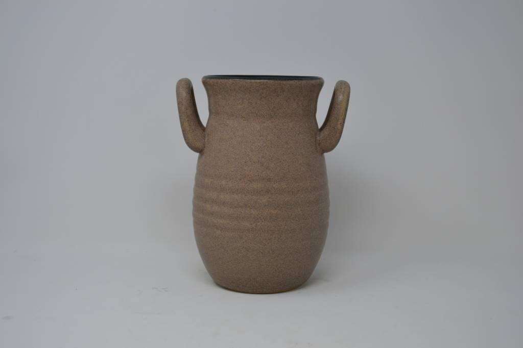 "7.5"" Taupe Handled Vase"