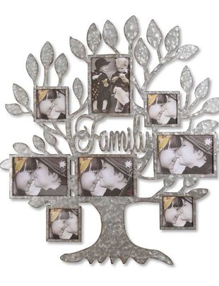 Galvanized Family Tree Photo Holder