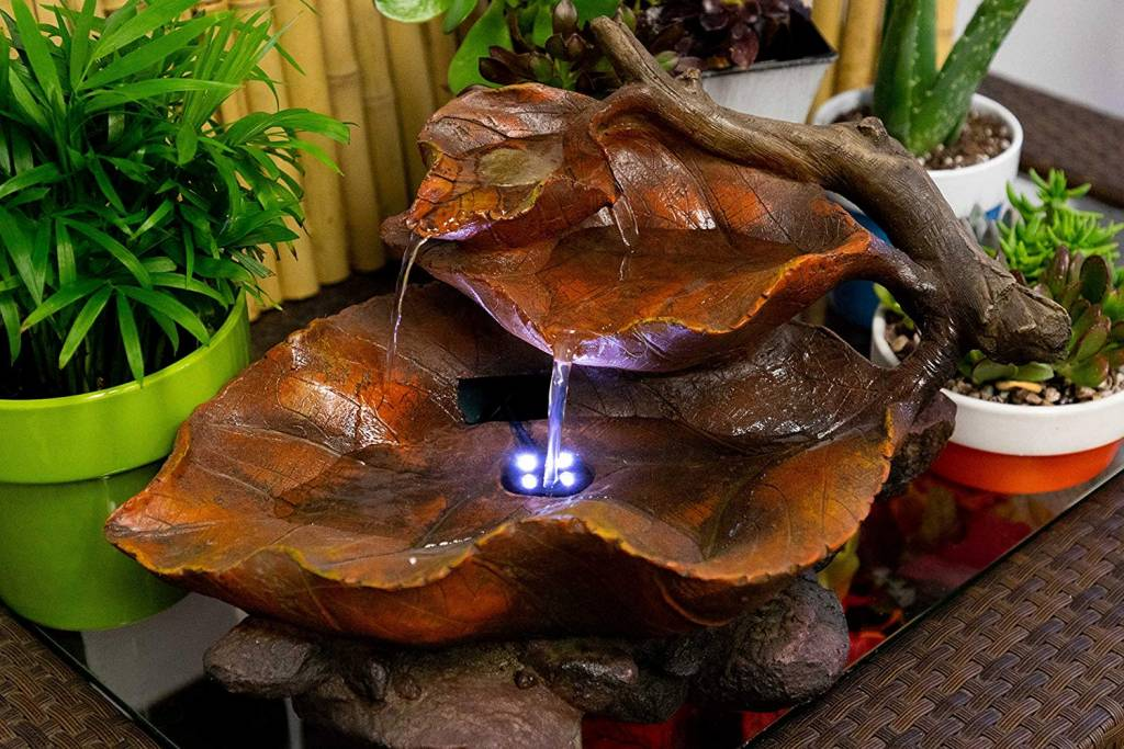 Tiered Leaf Tabletop Fountain