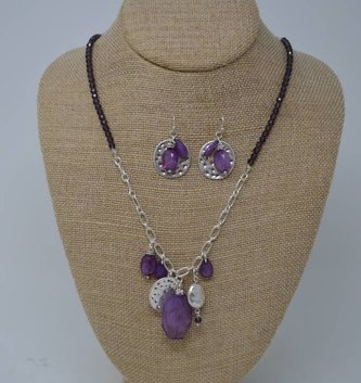 Purple Beaded Cluster Necklace Set