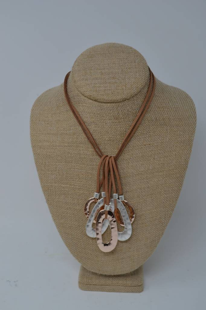 Oval Cluster Leather Necklace (3 Colors)