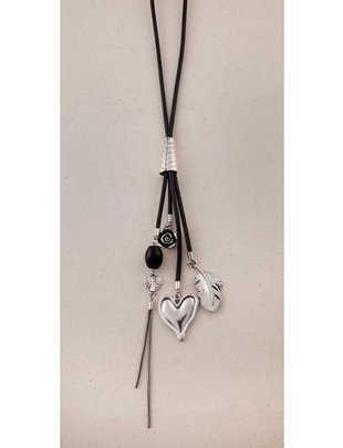 Heart Feather Dangle Necklace