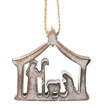 Whitewashed Nativity Ornament