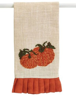 Embroidered Pumpkin Tea Towel