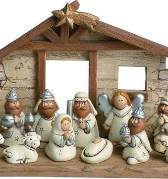 12-Piece Mini Resin Nativity Set with Creche