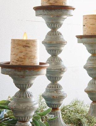 Galvanized Candle Stick Set of 3