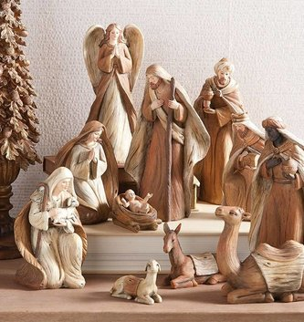 11 Piece Woodgrain Nativity Set