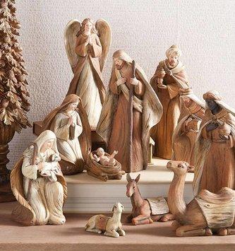 11 Piece Woodgrain Nativity Set