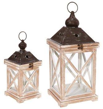 Whitewash Cross Panel Lantern