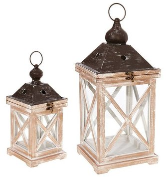 Whitewash Cross Panel Lantern