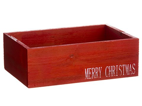 Merry Christmas Red Wooden Box