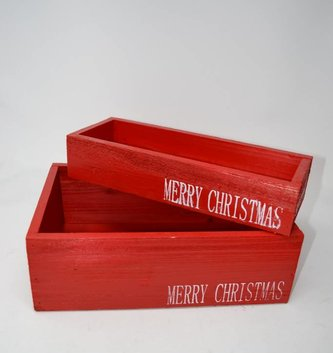 Merry Christmas Red Wooden Box (2 Sizes)