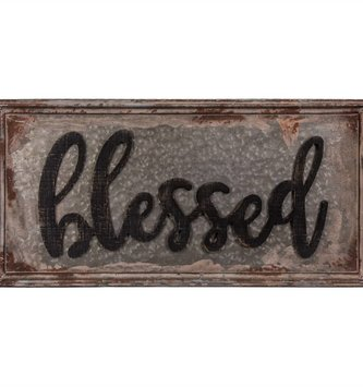Large Antiqued Metal Blessed Sign