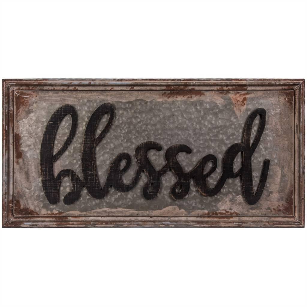 Large Antiqued Metal Blessed Sign