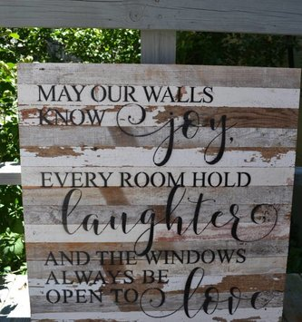 May Our Walls Know Joy Reclaimed Pallet Sign (2 Colors)