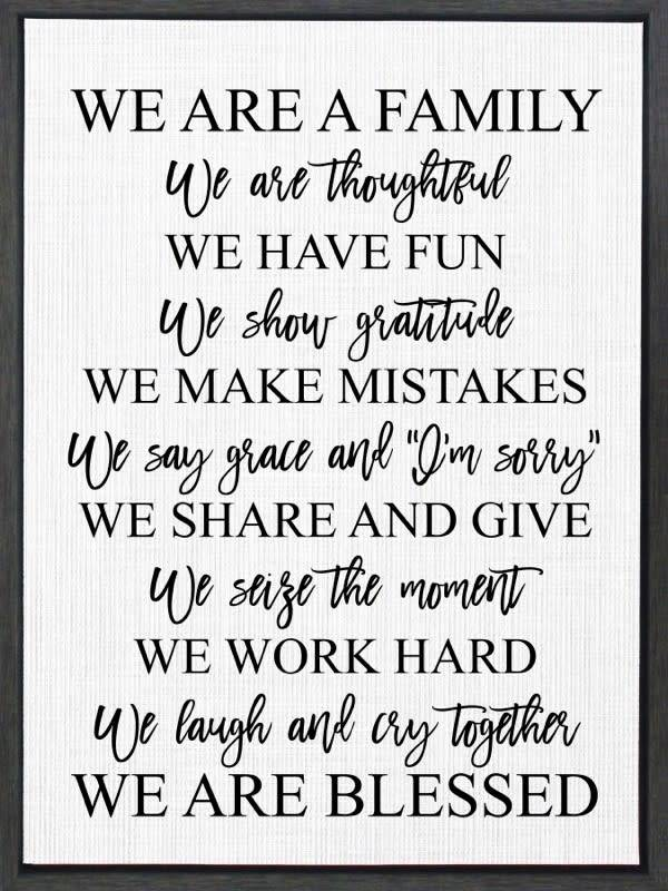 We Are A Family Canvas Sign