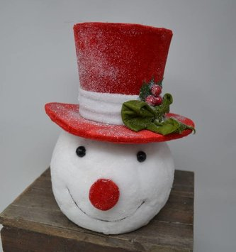 Top Hat Shimmer Snowman Head Ornament