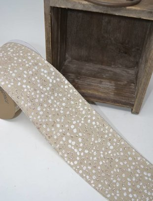 Linen Glitter Dot Ribbon (10 Yds)