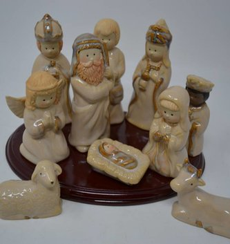 10 Piece Ceramic Nativity Set with Stand
