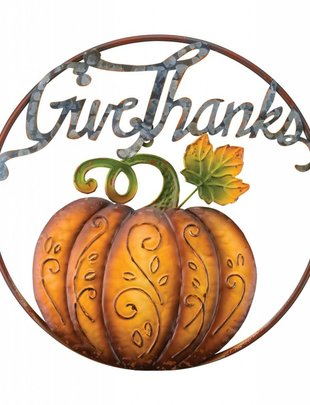 Give Thanks Circular Pumpkin Sign