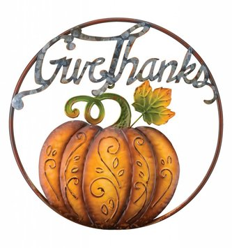Give Thanks Circular Pumpkin Sign