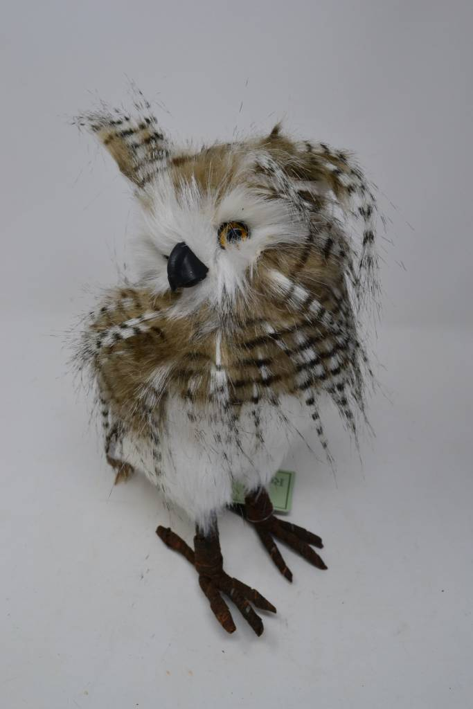 "10"" Standing Zebra Feather Owl"