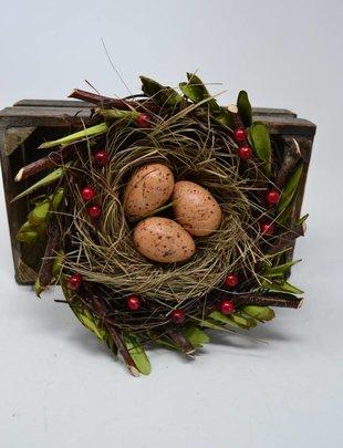 "8"" Berry Leaf Nest w/ Eggs"
