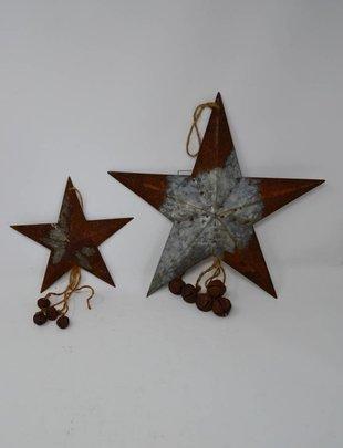 Rustic Tin Star Ornament w/ Bells (2 Sizes)