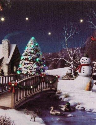 LED Tabletop Snowman Canvas