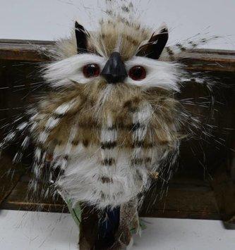 Mini Zebra Feather Owl Ornament