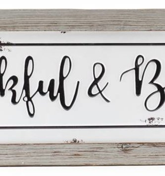 Thankful & Blessed Framed Metal Sign
