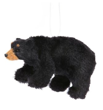 Furry Black Bear Ornament