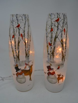 Tall Lighted Snowman Lamp (2 Styles)