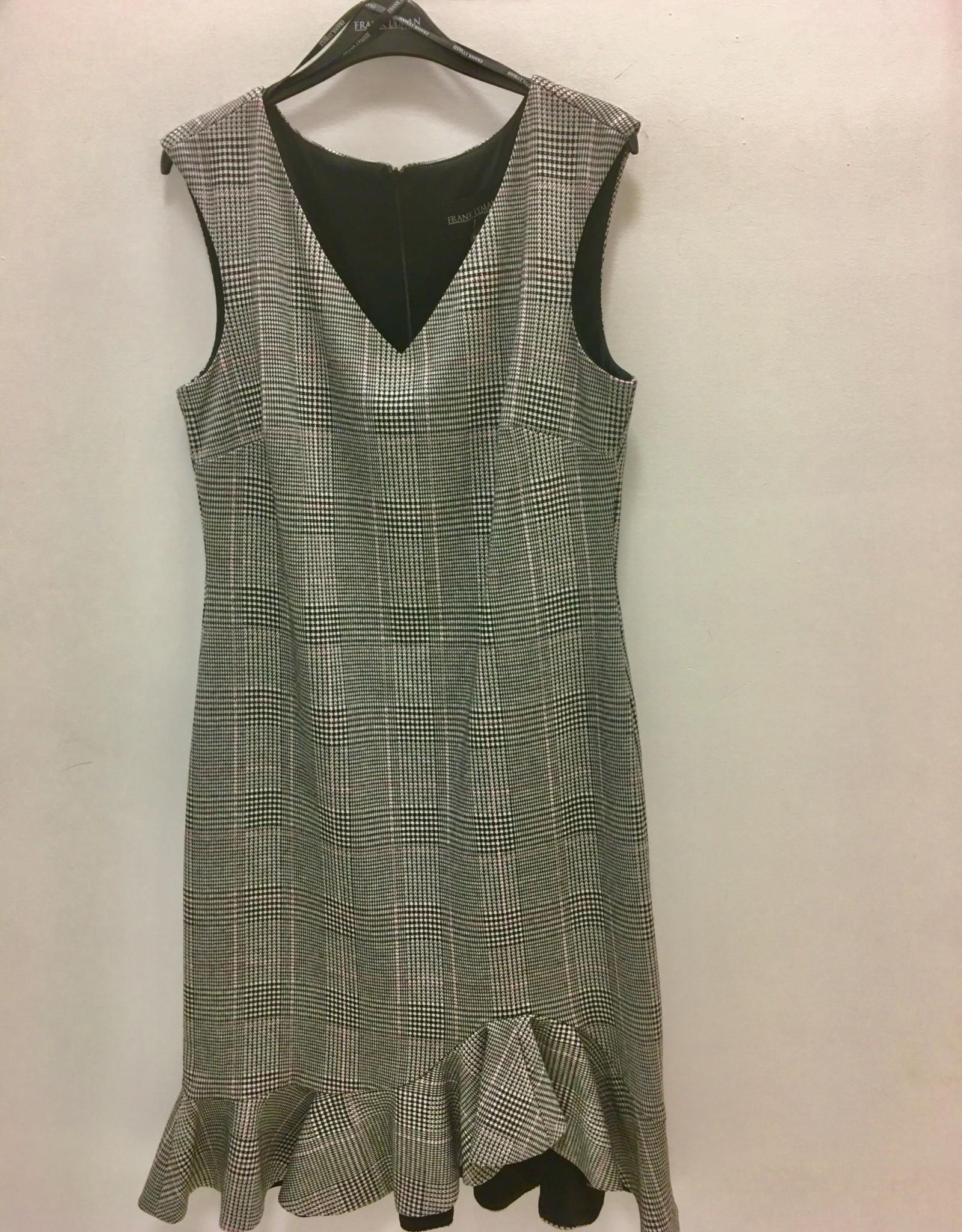 Frank Lyman 194465 Black/white/pink checkered woven dress