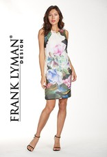 Frank Lyman Floral Dress with Gold Collar attachment