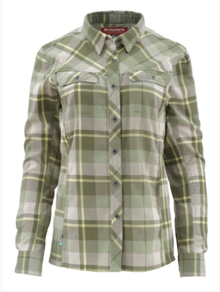 Simms Women's Wool Blend Flannel Thyme Plaid Small