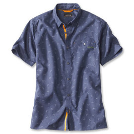 Orvis Printed Tech Chambray S/S Shirt