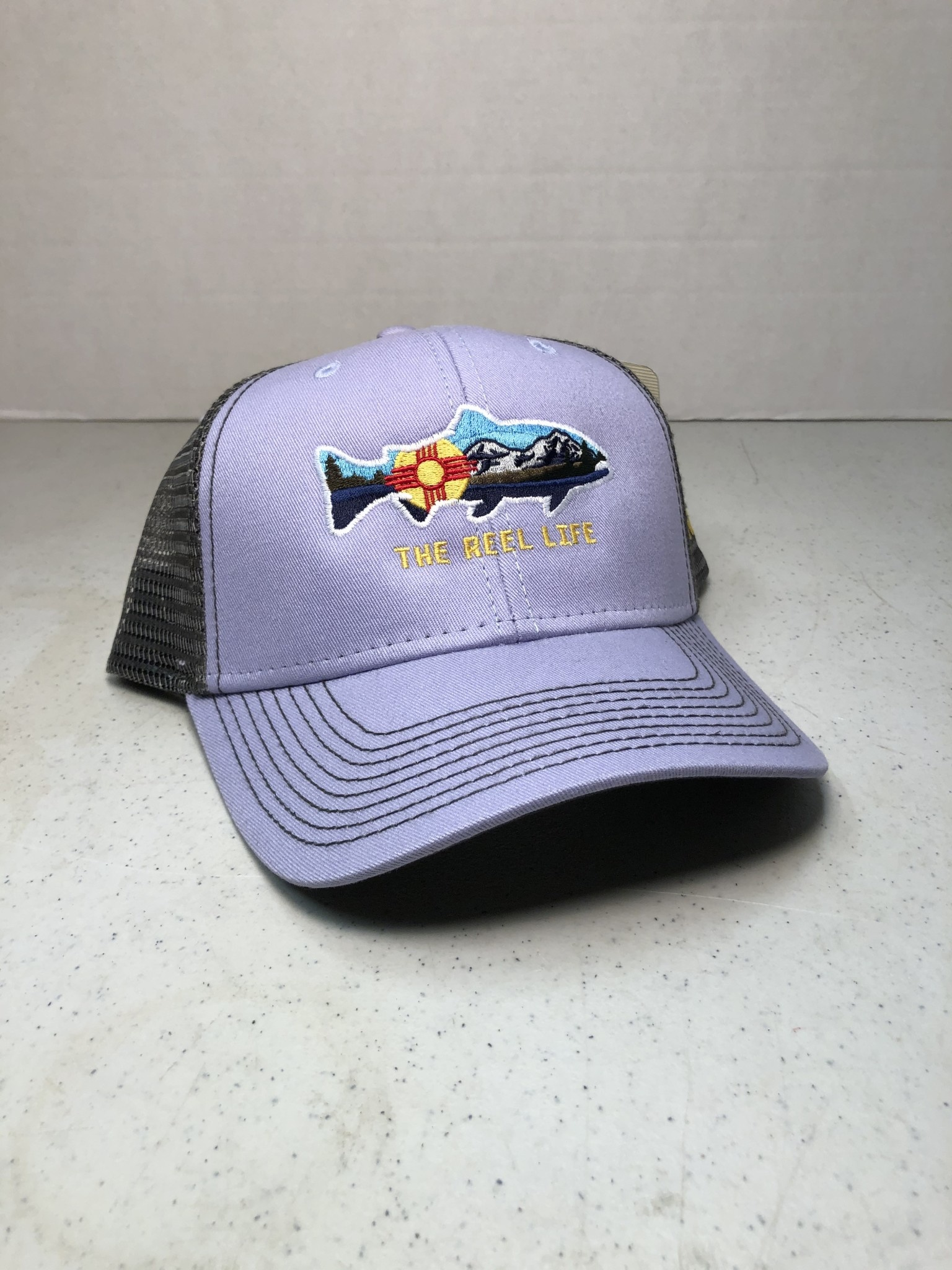 OURAY TRL ZIA TROUT LOGO TRUCKER HAT PURPLE/GRAY