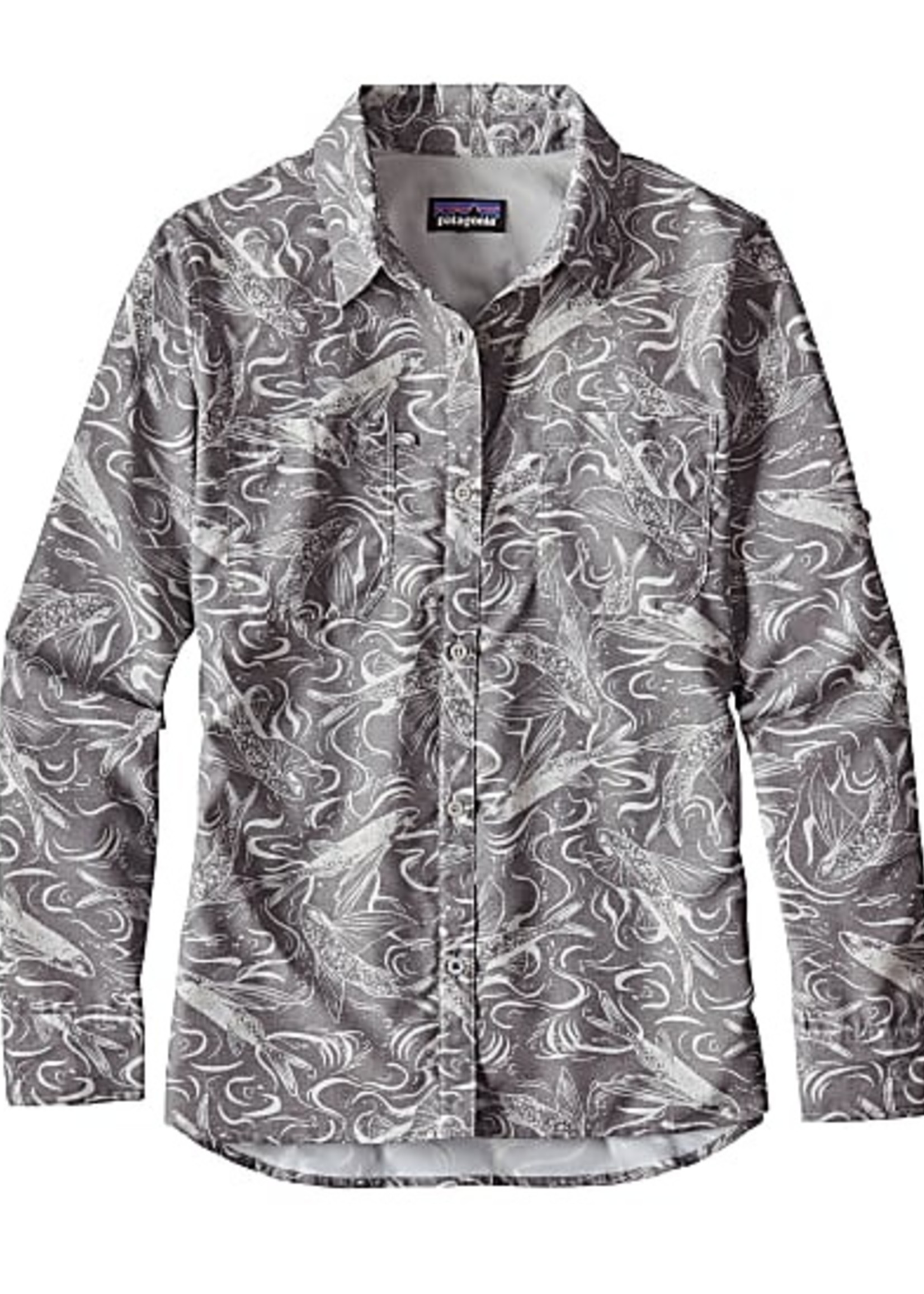 PATAGONIA W's L/S Sol Patrol Shirt fish splash: tailored Grey L