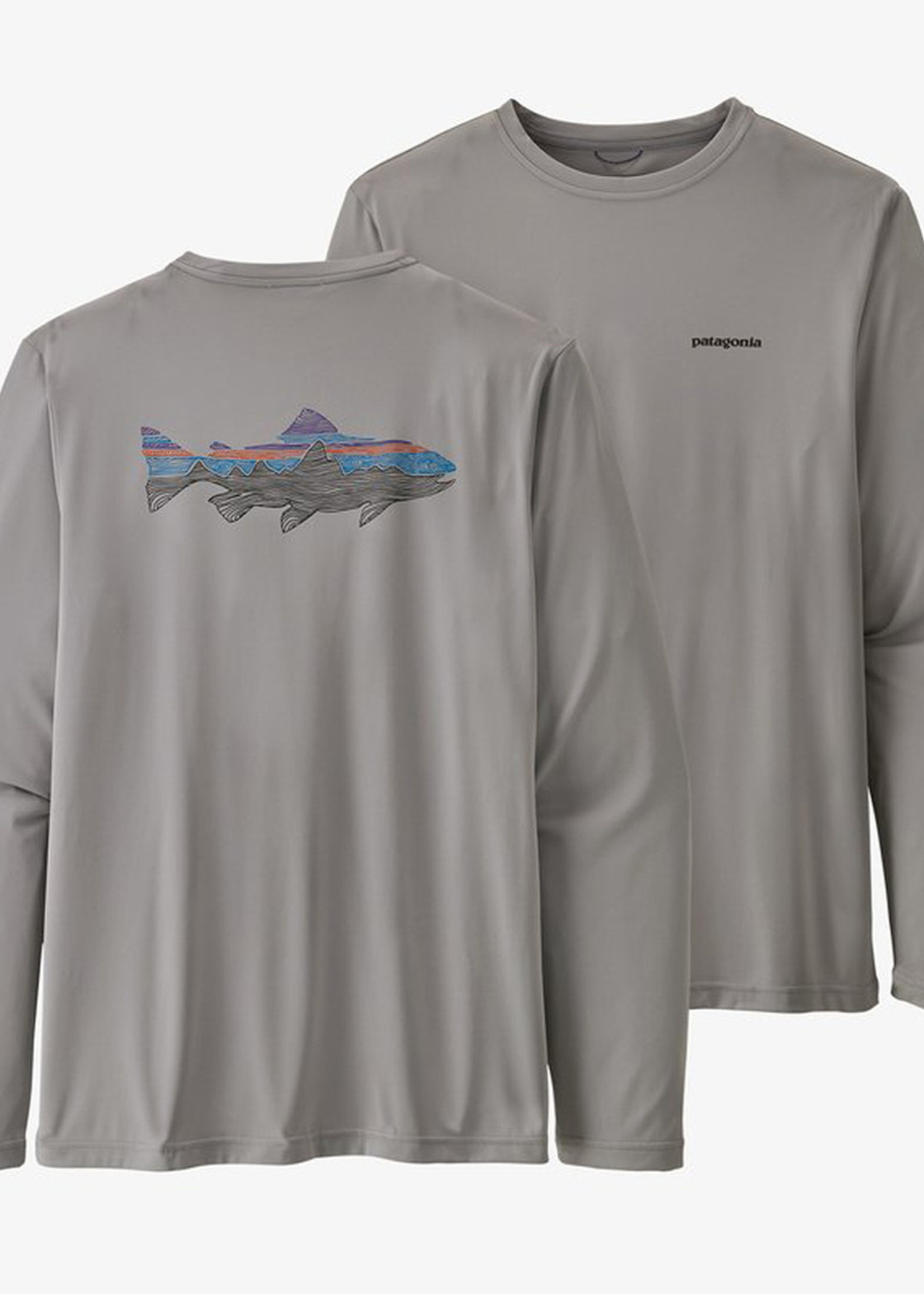 PATAGONIA M'S L/S CAP COOL DAILY FISH GRAPHIC SHIRT WOODGRAIN FITS ROY TROUT